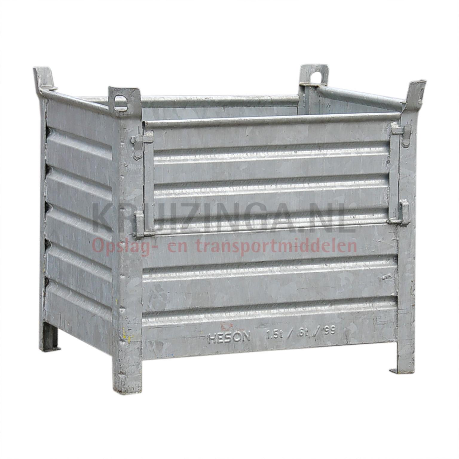 bac de rangement acier construction robuste bac empilable 1 clapet sur 2 c t s longue occasion. Black Bedroom Furniture Sets. Home Design Ideas