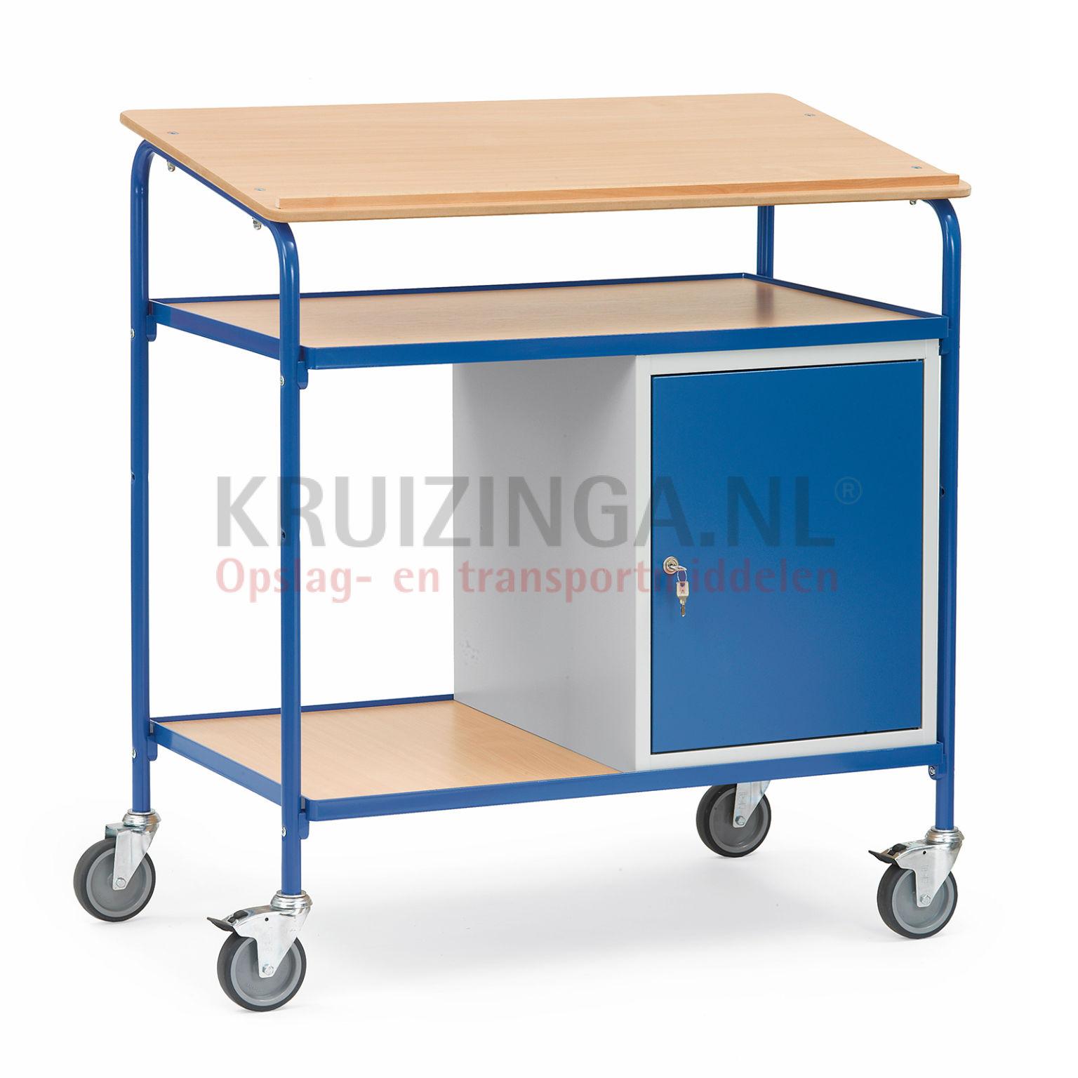 tischwagen rollwagen rollpulte mit holz schreibplatte arbeitsfl che 1 schrank 384 frei. Black Bedroom Furniture Sets. Home Design Ideas