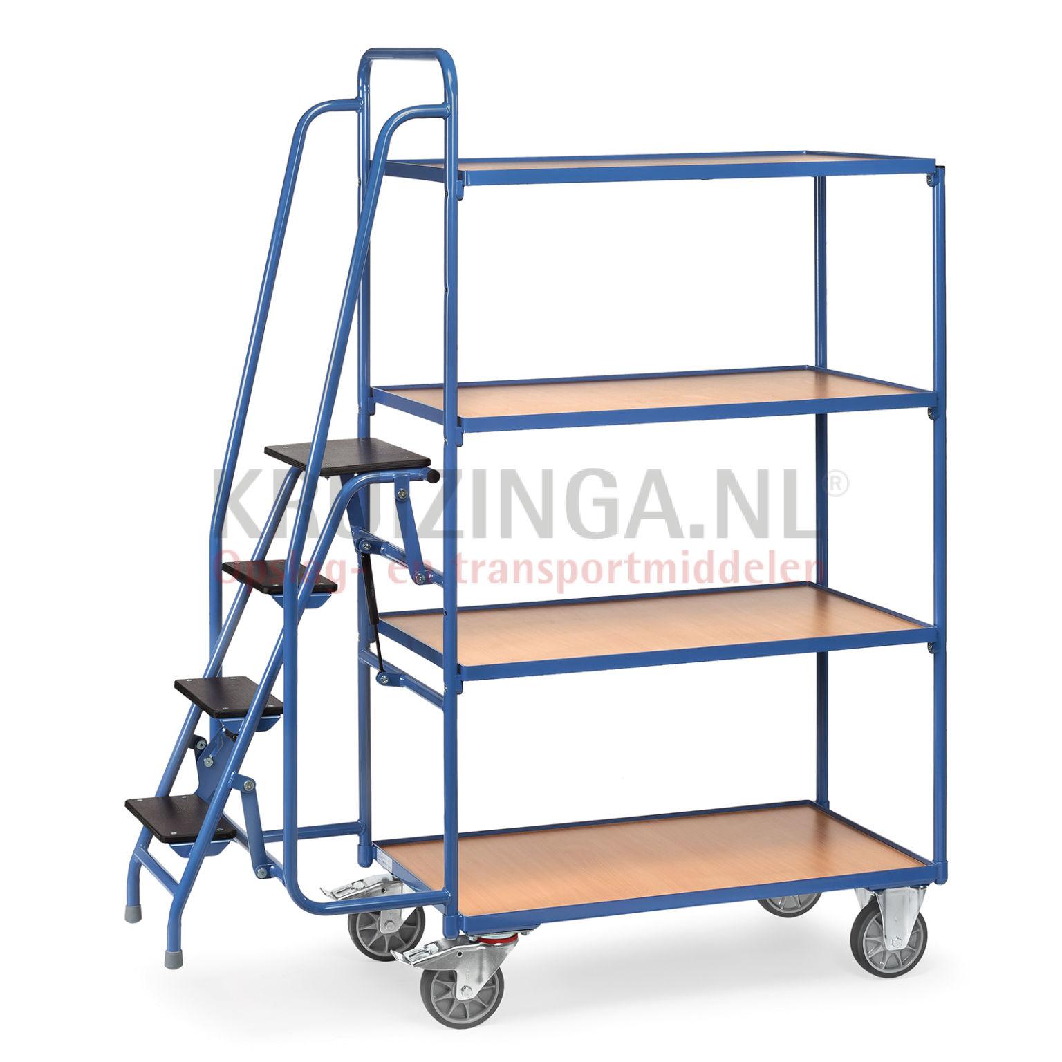 etagenwagen rollwagen kommissionierwagen mit trittstufen anklappbar 649 50 frei haus. Black Bedroom Furniture Sets. Home Design Ideas
