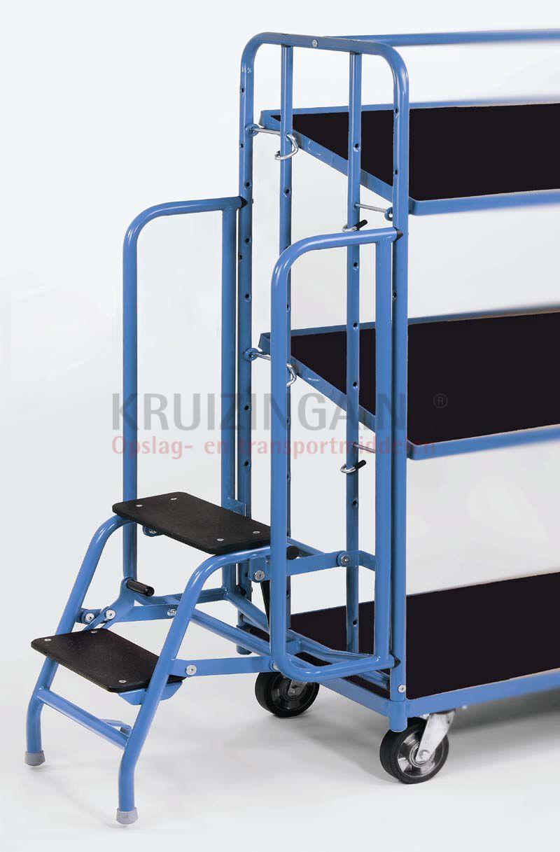 etagenwagen rollwagen leiter trittstufen anklappbar 2 stufen. Black Bedroom Furniture Sets. Home Design Ideas