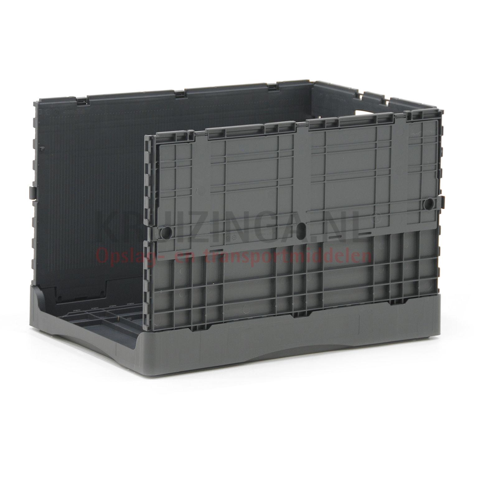 bac de rangement plastique gerbable et pliable avec couvercle double partir de 23 50 frais. Black Bedroom Furniture Sets. Home Design Ideas